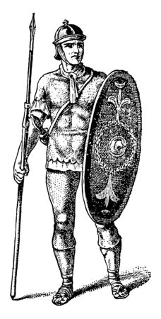 This is the image of Soldier A of the Roman Empire. He is standing with both arms, vintage line drawing or engraving illustration.