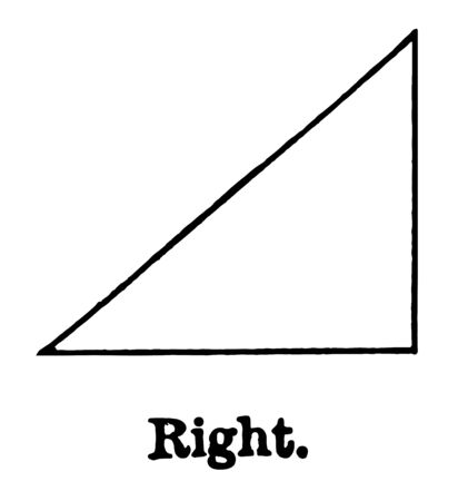An image of Right Triangle. There is only one right angle in this triangle, vintage line drawing or engraving illustration. Ilustração