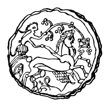 Coin in relief with a man riding the horse carriage, vintage line drawing or engraving illustration.