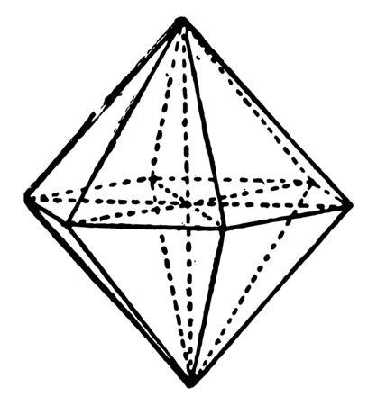A hexagonal pyramid is a triangular pyramid with a hexagonal face. Both attach pyramid base, vintage line drawing or engraving illustration. Ilustração