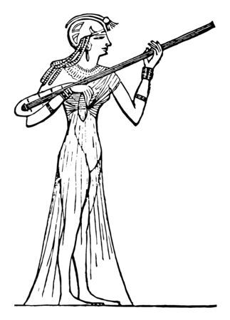 Egyptian musician attention to the study of music and had arrived at a very accurate knowledge of the art, vintage line drawing or engraving illustration. Иллюстрация