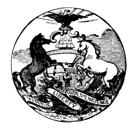 Pennsylvania Seal with motto, BOTH CANT SURVIVE  vintage line drawing. 向量圖像