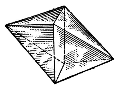 A diagram of the oblique octahedron. It is a polyhedron with eight faces. It is the main form of the isometric system, vintage line drawing or engraving illustration. Иллюстрация