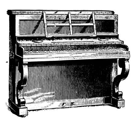 Piano droit ayant les cordes montées verticalement dans un boîtier rectangulaire avec le clavier à angle droit par rapport au boîtier, dessin de ligne vintage ou illustration de gravure.