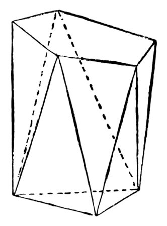 A diagram showing a prismatoid that is a solid that has two parallel polygonal bases connected by triangular faces, vintage line drawing or engraving illustration.