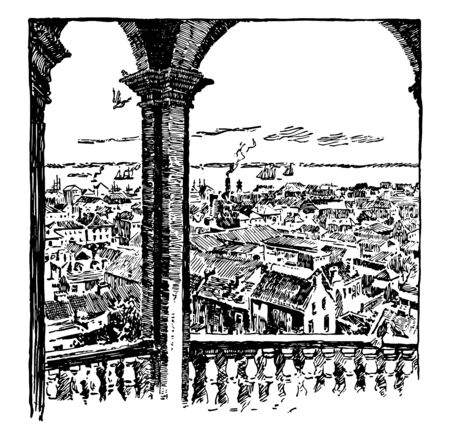 Charleston, S.C. founded in 1670, oldest and largest city of the state vintage line drawing.  イラスト・ベクター素材