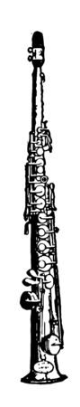 Soprano Saxophone with a higher pitch with the same fingering of a saxophone, vintage line drawing or engraving illustration.