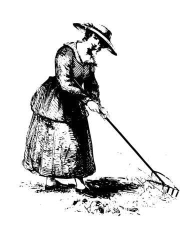 Peasant girl is the title given to a girl drawn on the oil painting who is picking the wool in the painting. She had weared a long dress and hat over head vintage line drawing.