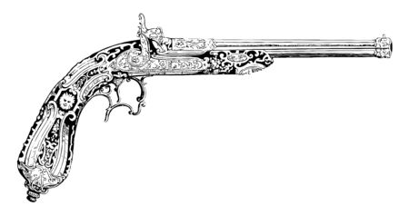 Pistol is ornamented in a Romanesque style, vintage line drawing or engraving illustration.