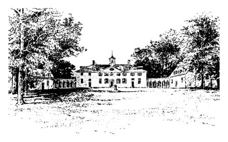Image showing View of Mount Vernon, home of George Washington vintage line drawing.