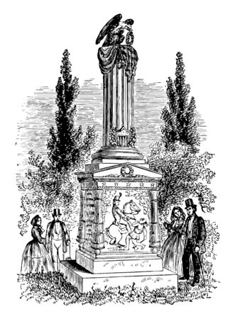Richard Mentor Johnson monument was made in memory of Colonel Richard M. Johnson vintage line drawing.