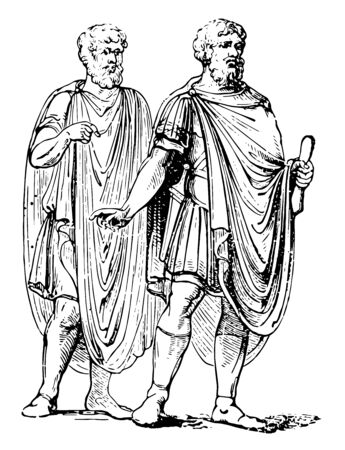 A cloak worn by Ancient Greeks called Abolla, vintage line drawing or engraving illustration.