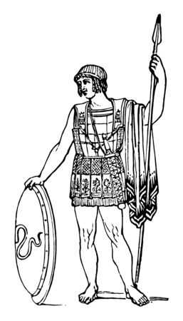 A lorica worn by a soldier while holding a shield, vintage line drawing or engraving illustration. Çizim
