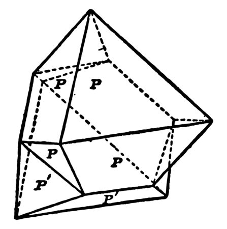A diagram of Spinel-Twin. A twin spinel is octahedron twinned on an octahedral face it has the two symmetrical parts with a plane parallel to this face, vintage line drawing or engraving illustration. Иллюстрация
