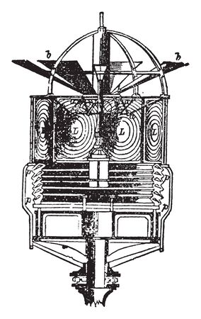 Stevensons Revolving Light proposed to add fixed reflecting prisms p below the lenses of Fresnel revolving light, vintage line drawing or engraving illustration.