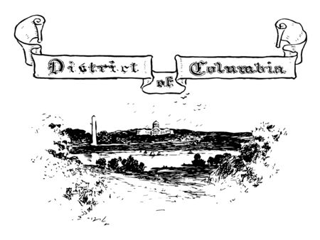 Washington, District of Columbia a federal district vintage line drawing.