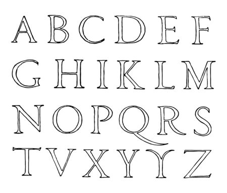 Roman Renaissance Alphabet specimen beek of John of Yciar, vintage line drawing or engraving illustration. 일러스트