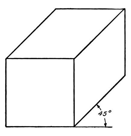 The image shows an oblique view of a solid  rectangular 45  prism, vintage line drawing or engraving illustration. Illusztráció