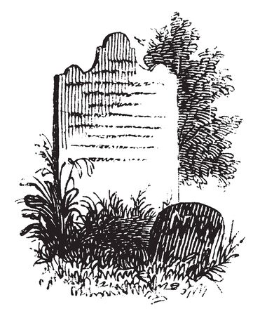 Grave of General Nathaniel Woodhull, a leader of the New York Provincial Congress and a brigadier general of the New York Militia ,vintage line drawing or engraving illustration Stock Illustratie