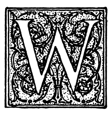 Decorative Letter W used at the start of a new chapter or heading, vintage line drawing or engraving illustration.