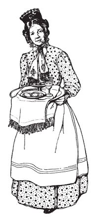 A woman holding tray in hands, food plate and glass kept in tray, vintage line drawing or engraving illustration Ilustração
