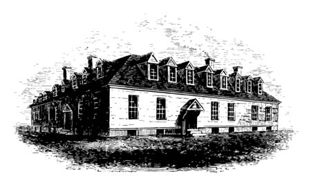 Raleigh Tavern is one of the largest Taverns in the Colonial Virginia, after several Royal Governors officially dissolved the House of Burgesses, was the gathering place for legislators, during pre American revolutionary war vintage line drawing.