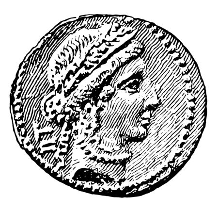 An image showing a coin showing Caesers bust, vintage line drawing or engraving illustration.