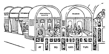 Image showing the interior structure of the public bathroom, vintage line drawing or engraving illustration.