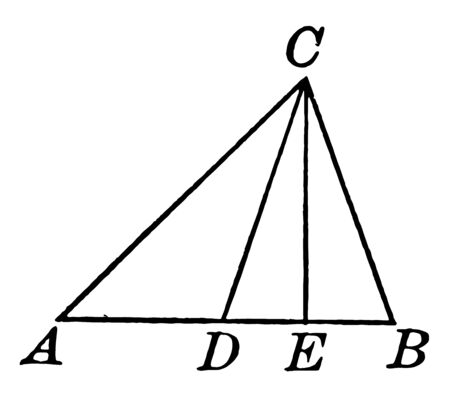 An image showing a triangle with medians. In this image, three triangles shown, vintage line drawing or engraving illustration.