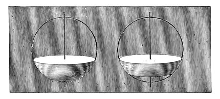 When a sphere is cut with two parallel planes, it creates a spherical Segment of a sphere. It can be like a spherical cap with a spherical and superior crushed trunk, vintage line drawing or engraving illustration.