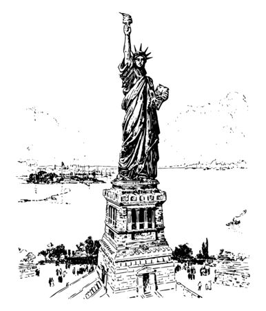 Bartholdi's Statue of Liberty in New York, Bartholdi completed the head and the torch bearing the arm before the statue was fully designed vintage line drawing. Stockfoto - 133361537