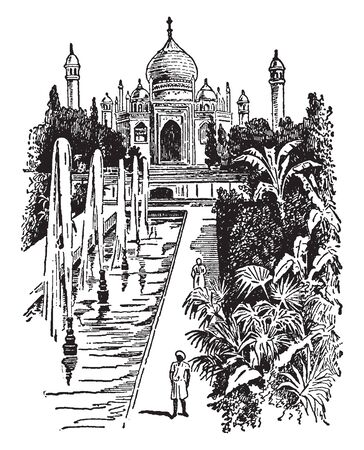 Taj Mahal is a famous mausoleum erected at Agra in India by Shah Jehan for his favorite wife, vintage line drawing or engraving illustration.