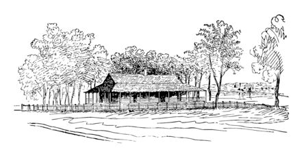 Zachary Taylor born on 24th November 1784 served as 12th US president, Image showing Zachary Taylor's Residence at Baton Rouge vintage line drawing.