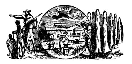 Nebraska seal written with Great seal of the state of Nebraska in the outer ring and a blacksmith working image in the center  vintage line drawing. Stock Illustratie
