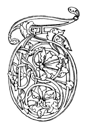 Romanesque of T which is 12th century, vintage line drawing or engraving illustration.