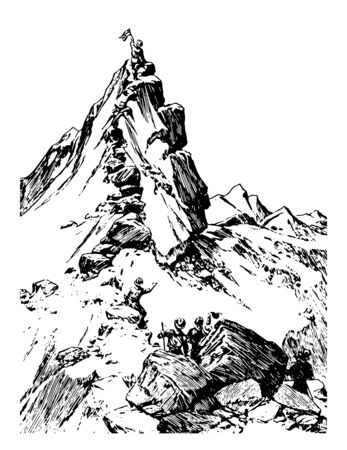 Fremonts Peak located on rocky ridge, northeast of Salinas, California  vintage line drawing.