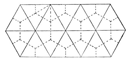 The image shows the formation of shrinkage prisms. The centers of attraction are connected by continuous lines. The formed prisms are sprinkled, vintage line drawing or engraving illustration.