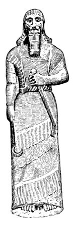 The image shows an Assyrian statue. It is made of stone and with a gun in your hand, vintage line drawing or engraving illustration.