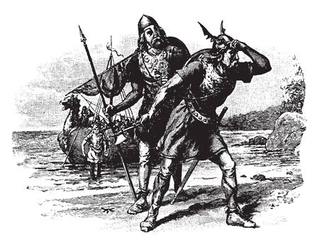 Norsemen standing on shore, vintage line drawing or engraving illustration