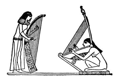 Ancient Egyptian Harps is a stringed instrument of triangular form, vintage line drawing or engraving illustration. Ilustrace