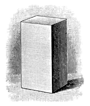 A rectangular prism standing at its base whose lateral edges are perpendicular to its bases, vintage line drawing or engraving illustration.