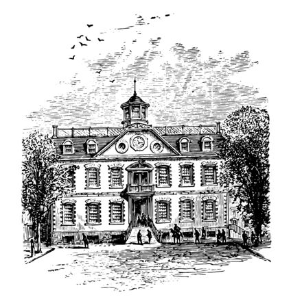 The Old Rhode Island State House  is a historical capitol built in 1895-1904 located on the border of Down town and Smith Hill vintage line drawing.
