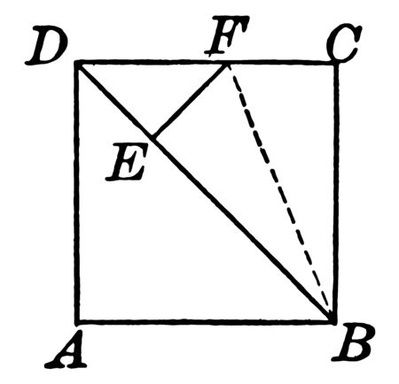 An image that shows a square. This square divided into two equal parts with a diagonal, vintage line drawing or engraving illustration.