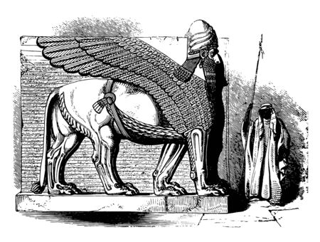The demonstration of a lamassu (winged lion with a human head) in the Palace of Ashurnasirpal. From the ninth to the seventh century, vintage line drawing or engraving illustration.