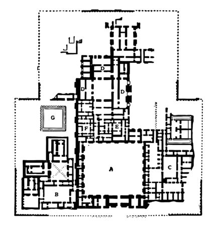 This image shows the plan of the palace in Khorasabad. This palace was located on the banks of the Khanser, vintage line drawing or engraving illustration.