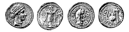 Collection of different coins that have an image of Caesar, vintage line drawing or engraving illustration.