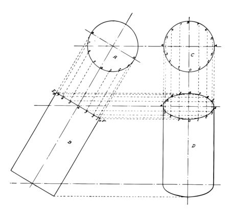 The image shows the projection of the cylinder. It is a graphic layout of projections to build a cylinder from the base of the cylinder, vintage line drawing or engraving illustration.
