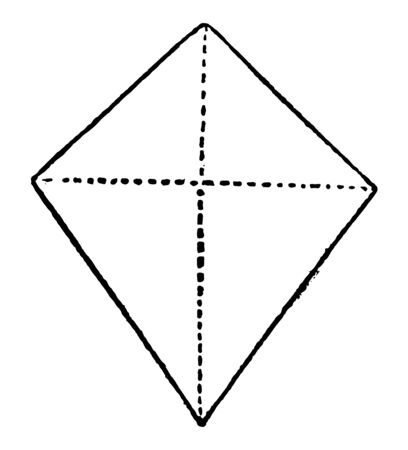 A four-sided figure, consisting of 2 unequal isosceles triangles on different sides of a common base, vintage line drawing or engraving illustration.
