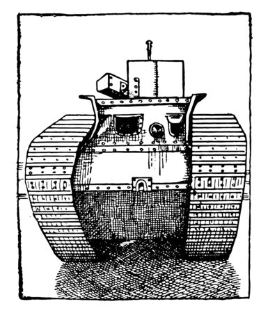 Tank which is front view of a thirty ton armored tank, vintage line drawing or engraving illustration.