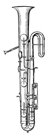 Ophicleide has a few higher notes and the practical range of this instrument must be limited, vintage line drawing or engraving illustration. Ilustração